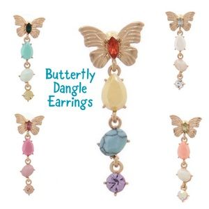 Butterfly Earrings w/ Dangles , NWT